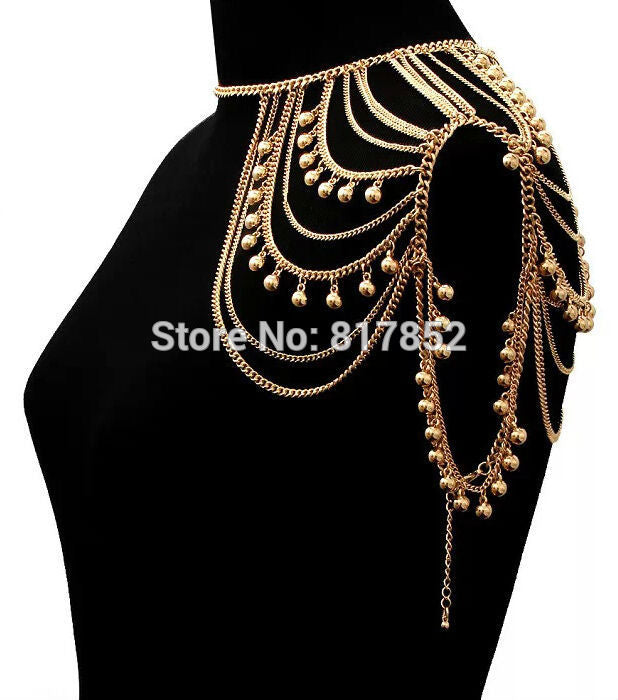 New Style BY426 Women Fashion Gold colour Chains Jewelry Small Bells Single Shoulder Chains Body Jewelry 2 colors