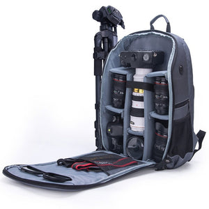 "New Style Photo Shoulders Backpack Waterproof Nylon Case fit 15.6"" Laptop Bag for Canon Nikon Sony SLR Photography Lens Tripod"