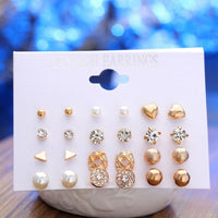 New Style Rhinestone Stud Earring Set For Women Hot-selling Cute Mixed Imitation Pearl Earring Sets 6 Pairs Gold Silver Earrings