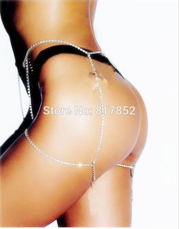 New Style WRL81 Women Fashion Silver Rhinestone Chains Leg Chains Unique Design 2 Styles Thigh Chains Jewelry 3 Colors