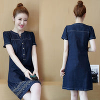 Women Dresses Vestido Plus Size Slim Fashion V-Neck Hem Embroidery Jeans Dress