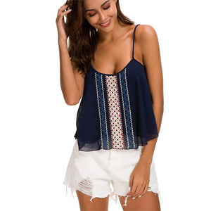 New Summer Women's Fashion Loose Embroidered Strapless Vest Top