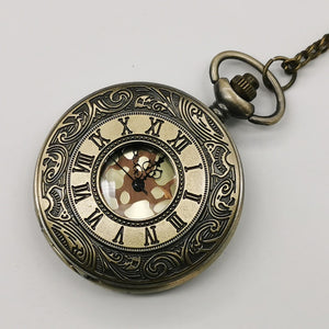 New Vintage Bronze Steampunk Pocket Watch Quartz Necklace Pocket & Fob Watches with Fob Chain Men Women Watches CF1019