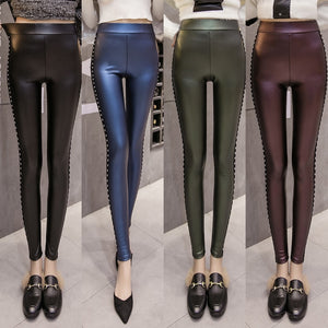 New Women Leggings Pants Faux Leather High Waist Leggings Stretch