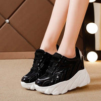 New Women Shoes Platform White Sneakers Woman's Pump High-heel Casual Shoes Hidden Heel Thick Sole Height Increasing Pumps Shoes