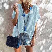 New Women Short Sleeve Loose T-Shirts arrival Ladies Summer Solid Casual Beach Tops Shirt Jelly Color Women Clothes