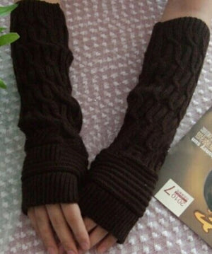 New Women Winter Stretchy Long Fingerless Gloves Wrist Arm Hand Warmer