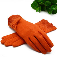 New Wool Cashmere Warm Gloves Women Winter Bow Decorations