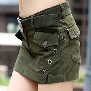 New arrival 2019 boot cut jeans slim hip casual Camouflage shorts culottes female Army