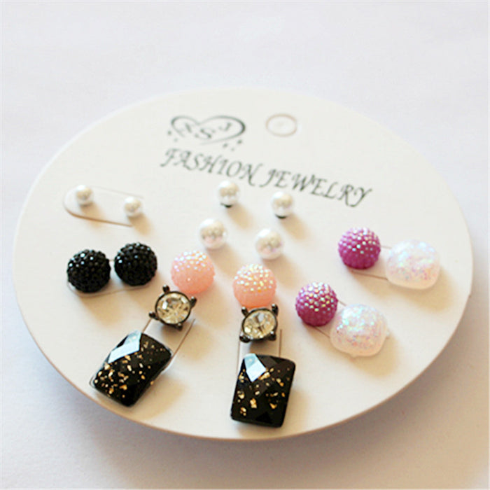 New fashion women's jewelry wholesale girls birthday party pearl earrings pink/purple/black mix 9 pairs /set boutique gifts