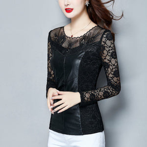 New sexy PU leather net yarn long sleeve lace shirt female primer BLOUSE 2019 NEW