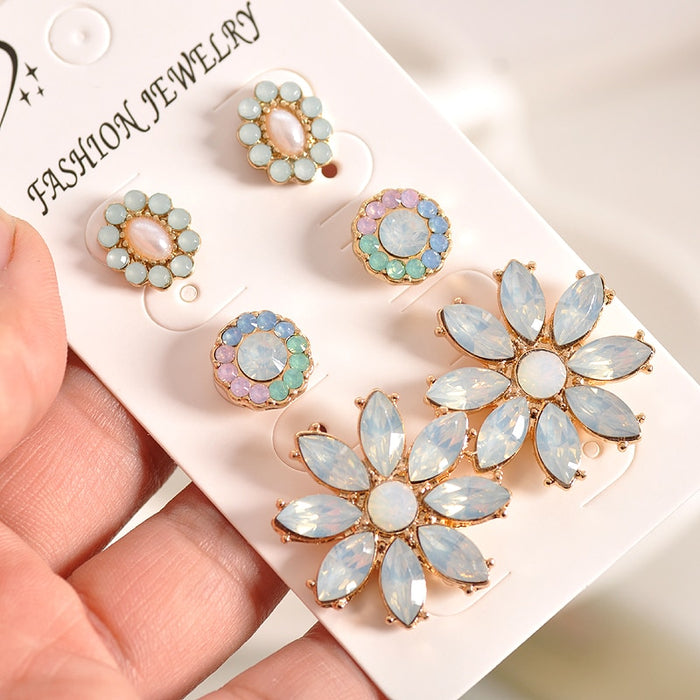 Newfashionable gorgeous women's jewelry girl's birthday party beautiful white powder green ear nail suit earring agent