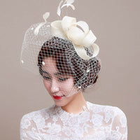 Newly Fashion Women Fascinator Cambric Headdress Vintage Lady Cocktail Hat French Veiling Wedding Party Bridal Hair Accessorie