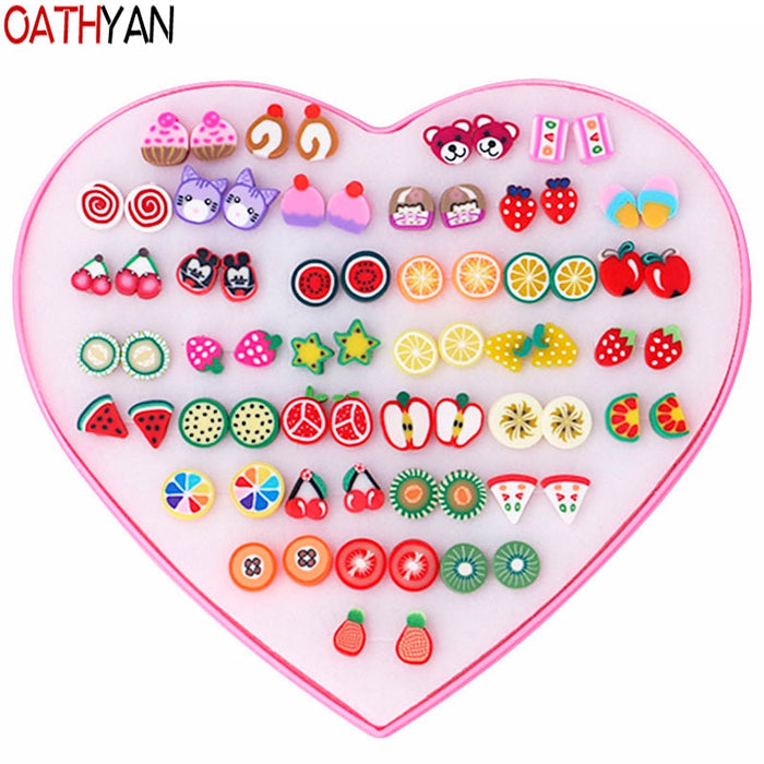 OATHYAN 36 Pairs/Set Fashion Assorted Polymer Clay Stud Earrings Set Handmade Fruits Cartoon Earrings For Women Girls Children