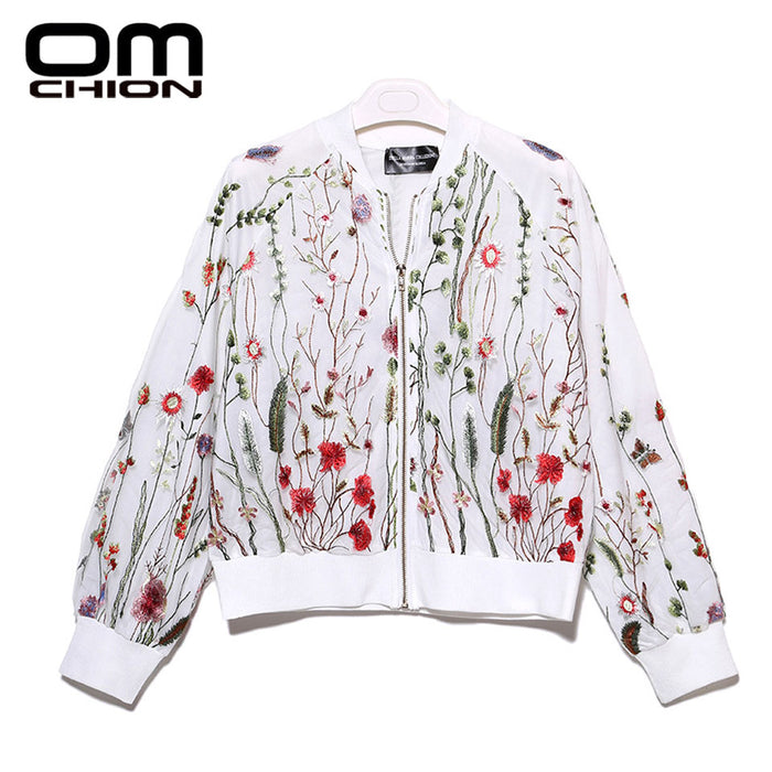 Cardigan Round Neck Floral Embroidered Jacket Long Sleeve