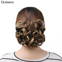 OUBECA Women's Synthetic Curly Chignon Elastic Net With Two Plastic Combs Clip In Hair Buns Hairpiece