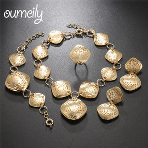 OUMEILY African Jewelry Set Dubai Gold Color Jewelry Sets For Women Wedding Jewellery Set India Big Bridal Costume Jewelery