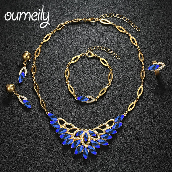 OUMEILY Luxury Indian Bridal Jewelry Sets Dubai Gold Color Nigerian Africa Jewelry Set for Women Blue Crystal Jewelery Costume