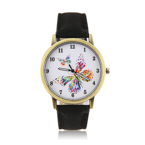 OUTAD Casual Wrist Watch Women Golden Round Shell Butterfly Quartz Watches Denim Watchband relogio feminino Gift For Friends