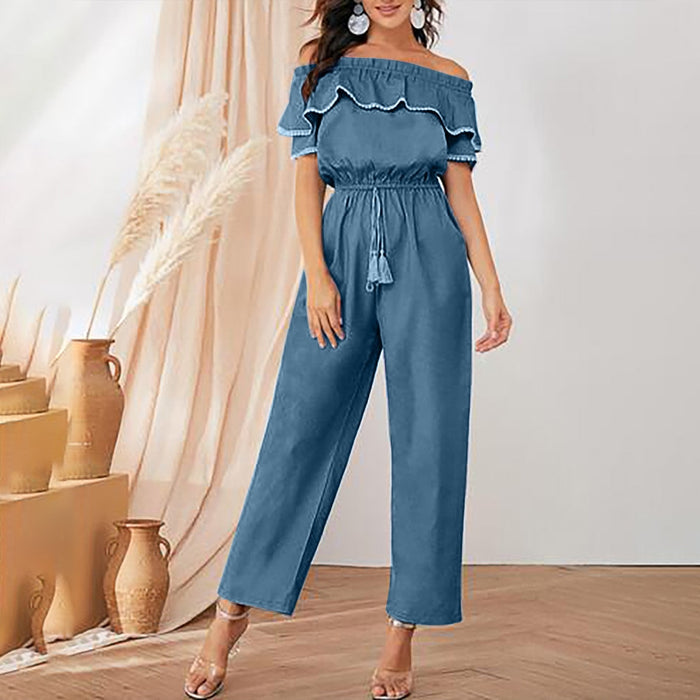 Off shoulder jean jumpsuit women elegant tassel Sashes jumpsuit long rompers Summer solid denim overalls Ruffles playsuit