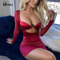 Ohvera Elastic Satin Dresses Women Hollow Out Bodycon Sexy Dress Strapless Summer Dress
