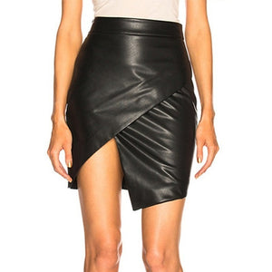Ohvera High Waist Black PU Leather Skirts Womens Wrap Pencil Sexy Summer Mini Skirt 2019 For Women