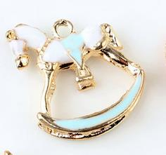 Oil Drop Charms 5pcs/lot  Beautiful Horse  Gold Tone Metal Enamel Folating Pendant Carousel Charms for DIY Bracelet Necklace