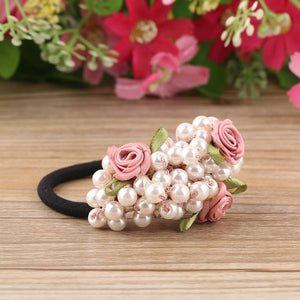 Okdeasl Fashion Women scrunchies flower beaded pearl headband rubber