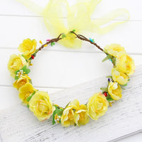 Orange pink yellow Rose Fairy head garland women Girls wedding party Bride flower Crown wreath Hair Accessories