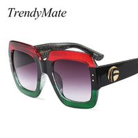 Oversized Square Sunglasses Women Fashion Gradient Lens Sun Glasses For Women Brand Luxury Black Green Red Shades UV400 1159T