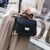 PU Leather New Vintage Women Tote Bags Korean Style Black Solid Adjustable Straps Box Shape Crossbody Bags Ladies Hot Bag B55