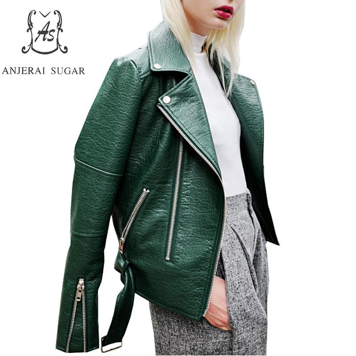 PU Leather jacket Women coat Faux Leather green black blue Turn-down Collar Snake skin pattern motorcycle female short jackets