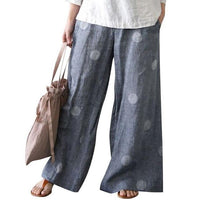 PUIMENTIUA Summer Pants Women Casual Loose Elastic Waist Vintage Pants European American Dot Print Trouser Women Wide Leg Pants