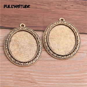 PULCHRITUDE 2pcs 30*40mm Inner Size antique God Plated 11 Style Big Oval Cabochon Base Setting Charms Pendant Necklace Findings