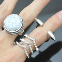 Pack of 3 Silver Dome White Turkey Blue Stone Arrow Crystal Inlay Spike Stack Band Ring Jewelry 2018 New