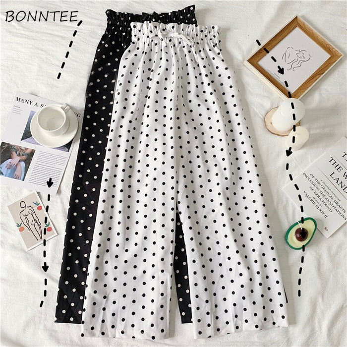 Pants Women Drawstring Korean Style High Waist Leisure All-match Dot Wide Leg Trousers Womens Chiffon Lovely 2019 Chic Girls New