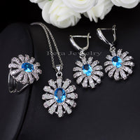 Pera 3 Piece 925 Sterling Silver CZ Jewelry Sets For Women Big Yellow Stone Sun Cluster Flower Tennis Necklace And Earrings J189