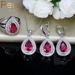 Pera 3 Piece Trendy Summer Party Banquest Jewelry Set Indian Red Cubic Zirconia Big Pear Cut Long Dangle Necklace For Women J203