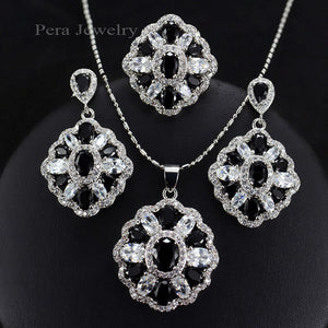 Pera CZ Elegant Design Big Square Austria Crystal Stone Purple 3 Piece 925 Sterling Silver Jewelry Sets For Women Gift J164
