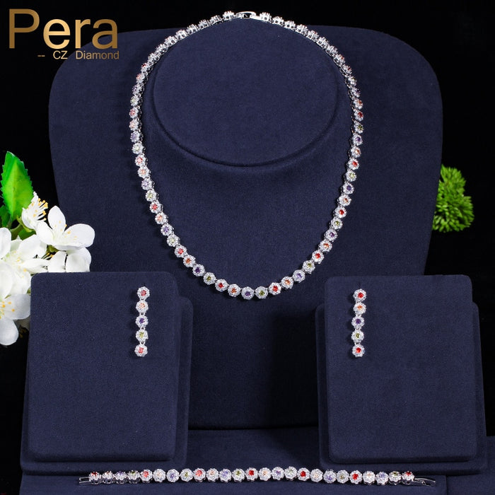 Pera Elegant Women 3 Piece Big Round Cubic Zirconia Multi Colored Choker Necklace Earrings And Bracelet For Prom Party Gift J229