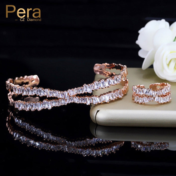 Pera Fashion 2 Piece Adjustable Size Party Jewelry Gift AAA Cubic Zirconia Rectangle Baguette Bangle And Ring Set For Women Z016