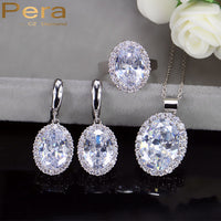 Pera New Arrival 3 Piece 925 Sterling Silver Big Oval Shape Cubic Zircon Tennis Necklace And Earrings Jewelry Set For Women J195