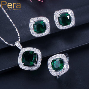 Pera New Fashion 3 Piece Jewelry Set For Women Sterling Silver Big Square Created Green Crystal Necklace Earring Rings J162