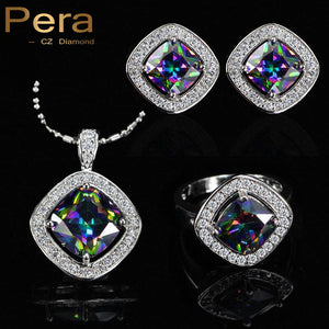Pera Trendy 3 Piece Natural Rainbow Big Square Stone Ring Earrings And Pendant 925 Sterling Silver Jewelry Set For Women J166