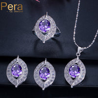 Pera Trendy Summer Style Purple Crystal Stone 925 Sterling Silver CZ Jewelry Wedding Engagement 3 Piece Sets For Women J006