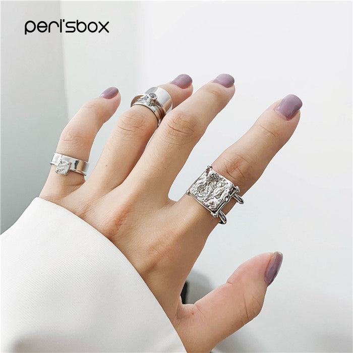 Peri'sBox Gothic Silver Foil Wrinkle Ring Set for Lady Chic Lava Open Ring Women Stacking Rings Jewelry Unusual Gift