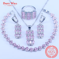 Pink Zircon Bridal Silver 925 Jewelry Sets Women Pendant&Necklace Ring Earrings With Natural Stones Bracelets Jewelery Gift Box