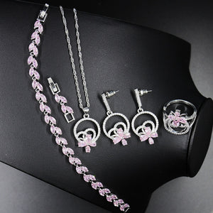 PinkZircon Silver 925 Jewelry Sets For Decorating Women Set of Earrings With Stones Pendant/Necklace/Earrings/Ring Jewelery Gift