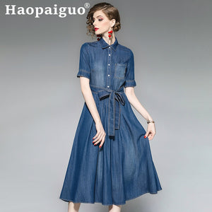Plus SIze Casual Jean Dress Summer for Women Short Sleeve Midi Jeans Dress Women with Button Vintage Dresses Ladies Robe Femme