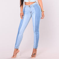 Plus Size Bleach Wash Ripped Jeans 2018 fall Blue Mid Waist Crop Pocket Jeans Women Ripped Denim Casual Pants